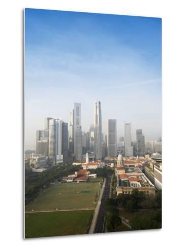 Singapore City Skyline at Dawn with the Padang and Colonial District in the Foreground, Singapore-Amanda Hall-Metal Print