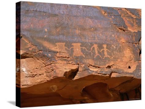 Ancient Indian Carvings Drawn Between 300Bc and 1150 Ad, Petroglyph Canyon, Nevada, USA-Amanda Hall-Stretched Canvas Print