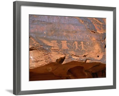 Ancient Indian Carvings Drawn Between 300Bc and 1150 Ad, Petroglyph Canyon, Nevada, USA-Amanda Hall-Framed Art Print