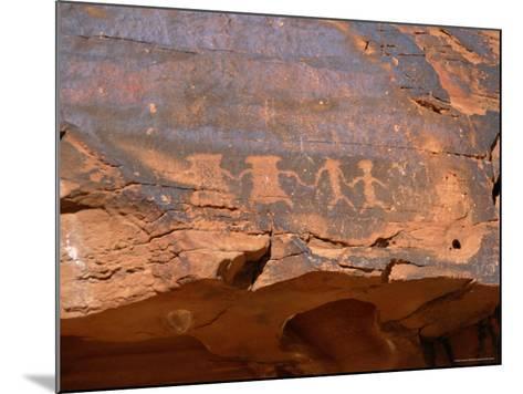 Ancient Indian Carvings Drawn Between 300Bc and 1150 Ad, Petroglyph Canyon, Nevada, USA-Amanda Hall-Mounted Photographic Print