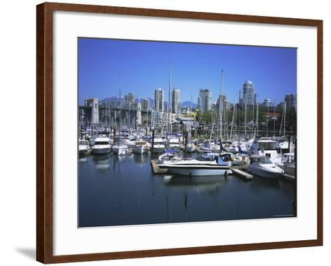 Boats Moored in False Creek by Granville Island with Downtown Vancouver Beyond, Canada-Pearl Bucknell-Framed Art Print