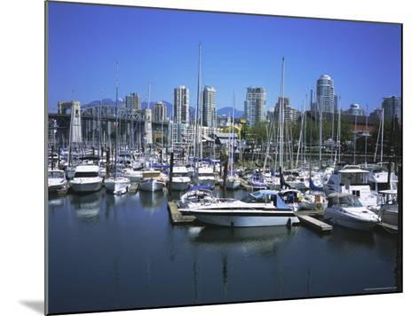 Boats Moored in False Creek by Granville Island with Downtown Vancouver Beyond, Canada-Pearl Bucknell-Mounted Photographic Print