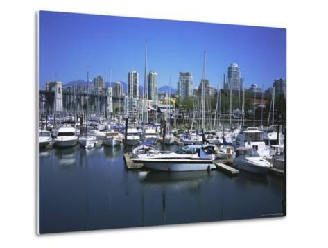 Boats Moored in False Creek by Granville Island with Downtown Vancouver Beyond, Canada-Pearl Bucknell-Metal Print