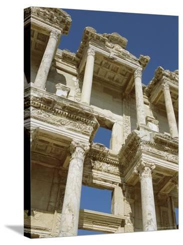 Reconstructed Facade of the Library of Celsus, Archaeological Site, Ephesus, Turkey, Anatolia-Robert Harding-Stretched Canvas Print