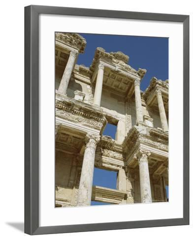 Reconstructed Facade of the Library of Celsus, Archaeological Site, Ephesus, Turkey, Anatolia-Robert Harding-Framed Art Print