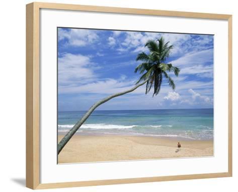 Palm Tree and Surfer, Hikkaduwa Beach, Island of Sri Lanka, Indian Ocean, Asia-Yadid Levy-Framed Art Print