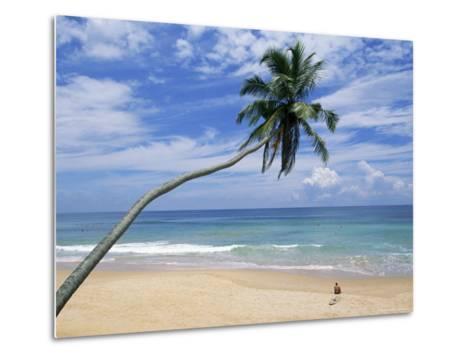 Palm Tree and Surfer, Hikkaduwa Beach, Island of Sri Lanka, Indian Ocean, Asia-Yadid Levy-Metal Print