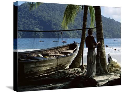 Fisherman, Maracas Bay, Northern Coast, Trinidad, West Indies, Central America-Aaron McCoy-Stretched Canvas Print