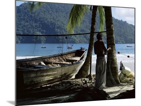 Fisherman, Maracas Bay, Northern Coast, Trinidad, West Indies, Central America-Aaron McCoy-Mounted Photographic Print