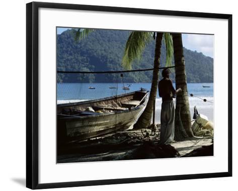 Fisherman, Maracas Bay, Northern Coast, Trinidad, West Indies, Central America-Aaron McCoy-Framed Art Print