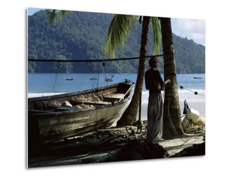 Fisherman, Maracas Bay, Northern Coast, Trinidad, West Indies, Central America-Aaron McCoy-Metal Print