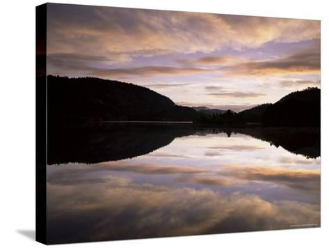 Pond Reflection and Clouds at Dawn, Kristiansand, Norway, Scandinavia, Europe-Jochen Schlenker-Stretched Canvas Print