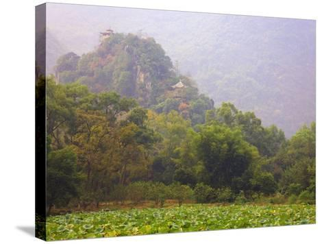 Hill with Chinese Pavillons, Yangshuo Park, Yangshuo, Guangxi Province, China, Asia-Jochen Schlenker-Stretched Canvas Print