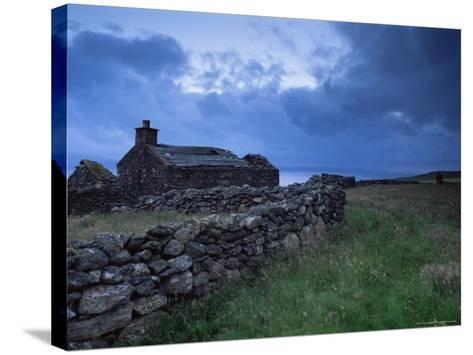 Ruined Croft at Sound, Yell, Shetland Islands, Scotland, United Kingdom, Europe-Patrick Dieudonne-Stretched Canvas Print