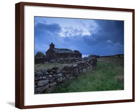 Ruined Croft at Sound, Yell, Shetland Islands, Scotland, United Kingdom, Europe-Patrick Dieudonne-Framed Art Print