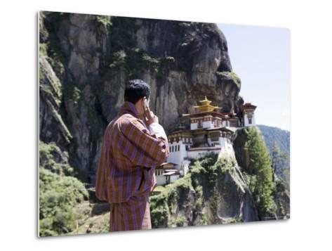 Bhutanese Man with Cell Phone, Taktshang Goemba (Tiger's Nest) Monastery, Paro, Bhutan, Asia-Angelo Cavalli-Metal Print