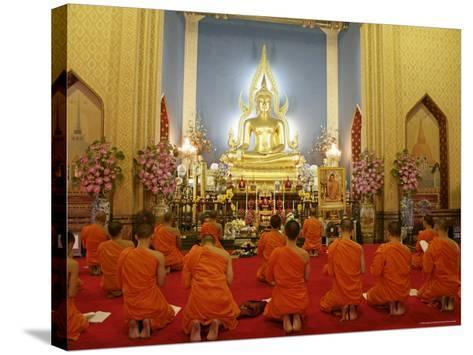 Buddhist Monks Praying, Wat Benchamabophit (Marble Temple), Bangkok, Thailand, Southeast Asia, Asia-Angelo Cavalli-Stretched Canvas Print