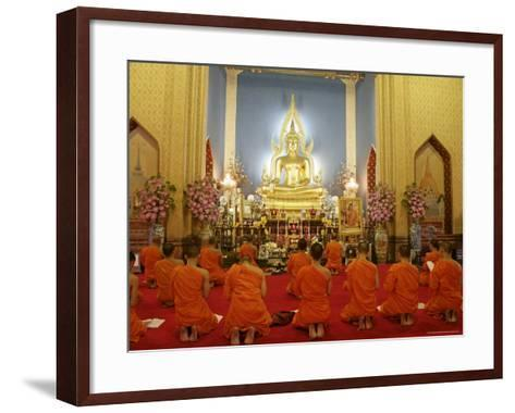 Buddhist Monks Praying, Wat Benchamabophit (Marble Temple), Bangkok, Thailand, Southeast Asia, Asia-Angelo Cavalli-Framed Art Print