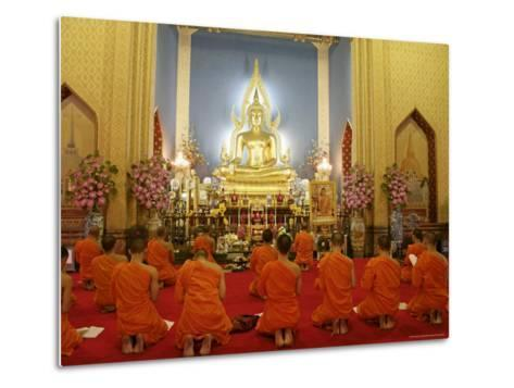 Buddhist Monks Praying, Wat Benchamabophit (Marble Temple), Bangkok, Thailand, Southeast Asia, Asia-Angelo Cavalli-Metal Print
