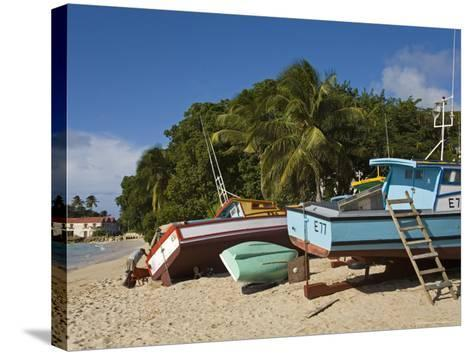 Fishing Boats, Port St. Charles, Speightstown, Barbados, West Indies, Caribbean, Central America-Richard Cummins-Stretched Canvas Print