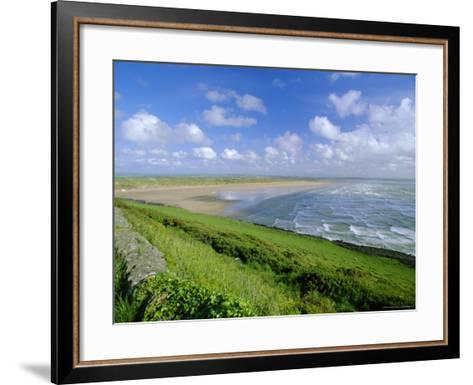 Looking South Along Saunton Sands and Braunton Burrows Near Barnstaple, North Devon, England, UK-Robert Francis-Framed Art Print