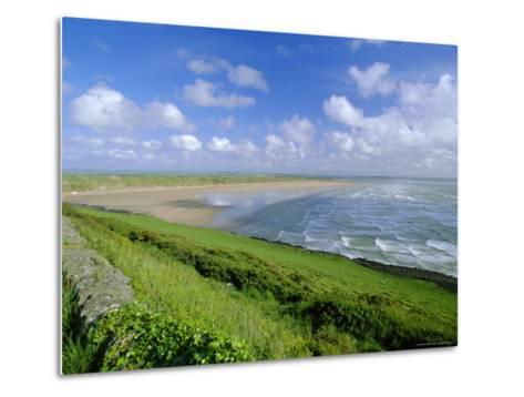 Looking South Along Saunton Sands and Braunton Burrows Near Barnstaple, North Devon, England, UK-Robert Francis-Metal Print
