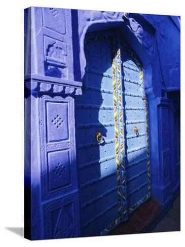 Elaborate Blue Door, the Blue Town of Jodhpur, Rajasthan, India,-Bruno Morandi-Stretched Canvas Print