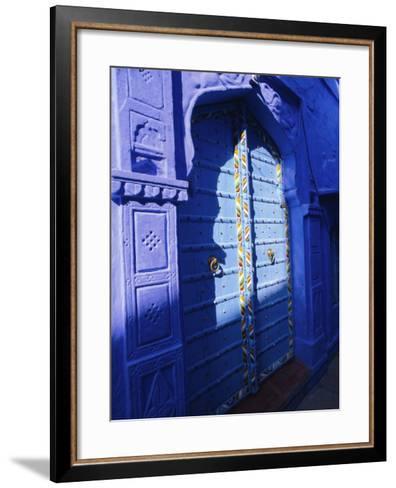 Elaborate Blue Door, the Blue Town of Jodhpur, Rajasthan, India,-Bruno Morandi-Framed Art Print