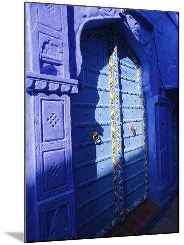 Elaborate Blue Door, the Blue Town of Jodhpur, Rajasthan, India,-Bruno Morandi-Mounted Photographic Print