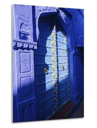 Elaborate Blue Door, the Blue Town of Jodhpur, Rajasthan, India,-Bruno Morandi-Metal Print