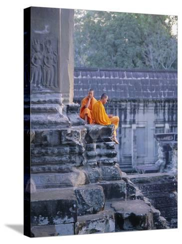 Buddhist Monks at the Temple Complex of Angkor Wat, Angkor, Siem Reap, Cambodia, Indochina, Asia-Bruno Morandi-Stretched Canvas Print