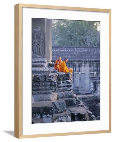 Buddhist Monks at the Temple Complex of Angkor Wat, Angkor, Siem Reap, Cambodia, Indochina, Asia-Bruno Morandi-Framed Art Print