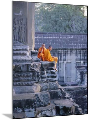 Buddhist Monks at the Temple Complex of Angkor Wat, Angkor, Siem Reap, Cambodia, Indochina, Asia-Bruno Morandi-Mounted Photographic Print