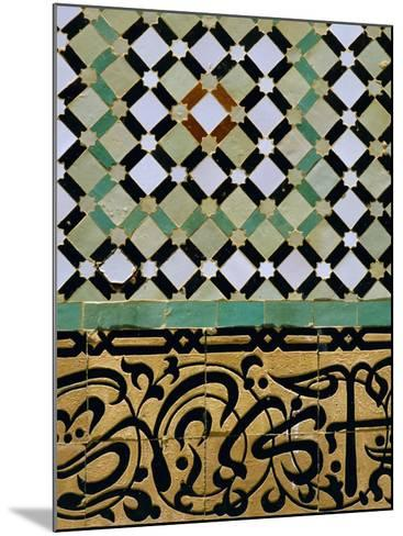 Tile Detail, Bou Inania Medersa, Meknes, Marocco, North Africa-Bruno Morandi-Mounted Photographic Print