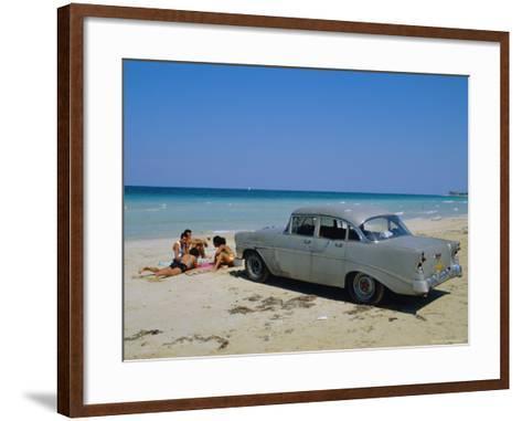 1950s American Car on the Beach, Goanabo, Cuba, Caribbean Sea, Central America-Bruno Morandi-Framed Art Print