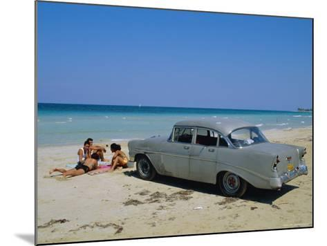 1950s American Car on the Beach, Goanabo, Cuba, Caribbean Sea, Central America-Bruno Morandi-Mounted Photographic Print