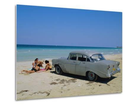 1950s American Car on the Beach, Goanabo, Cuba, Caribbean Sea, Central America-Bruno Morandi-Metal Print