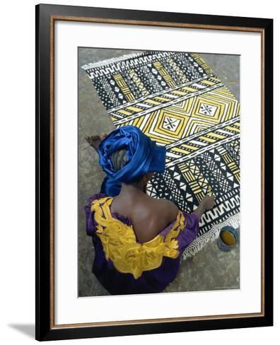 Cotton Rug Making, Craft Workshop of Bogolan, Segou, Mali-Bruno Morandi-Framed Art Print