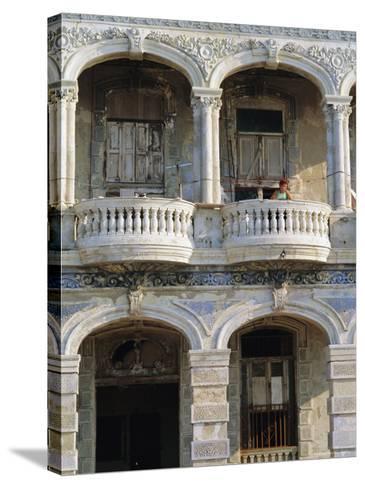 Colonial Facade, El Malecon, Havana, Cuba-J P De Manne-Stretched Canvas Print