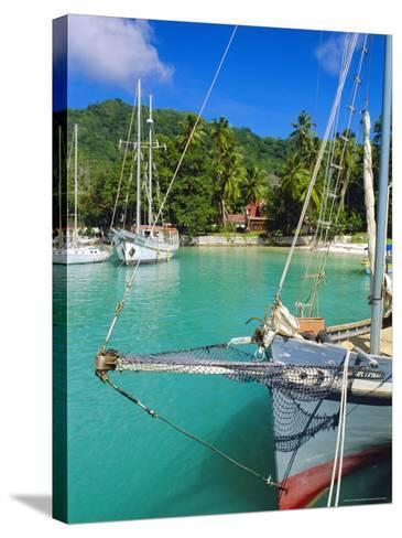 Harbour and Village, La Digue, Seychelles, Indian Ocean-J P De Manne-Stretched Canvas Print