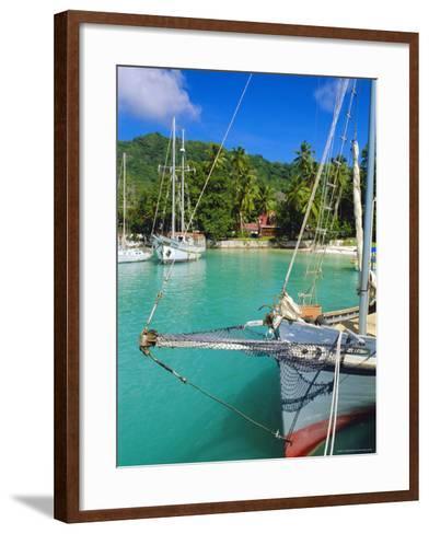 Harbour and Village, La Digue, Seychelles, Indian Ocean-J P De Manne-Framed Art Print