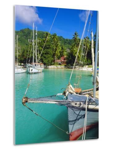Harbour and Village, La Digue, Seychelles, Indian Ocean-J P De Manne-Metal Print