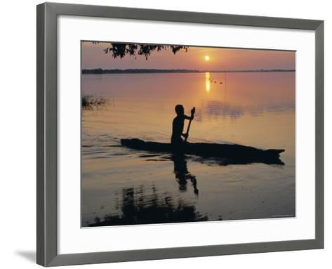 Anouak Man in Canoe, Lake Tata, Ethiopia, Africa-J P De Manne-Framed Art Print