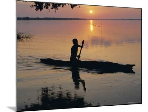 Anouak Man in Canoe, Lake Tata, Ethiopia, Africa-J P De Manne-Mounted Photographic Print