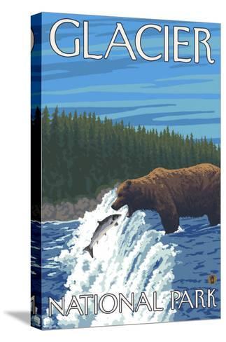 Bear Fishing in River, Glacier National Park, Montana-Lantern Press-Stretched Canvas Print