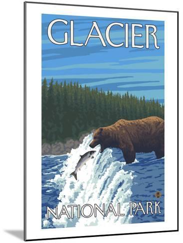 Bear Fishing in River, Glacier National Park, Montana-Lantern Press-Mounted Art Print