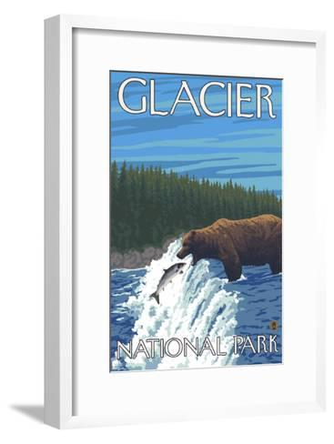Bear Fishing in River, Glacier National Park, Montana-Lantern Press-Framed Art Print