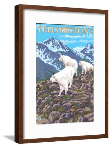 Mountain Goats Scene, Yellowstone National Park-Lantern Press-Framed Art Print