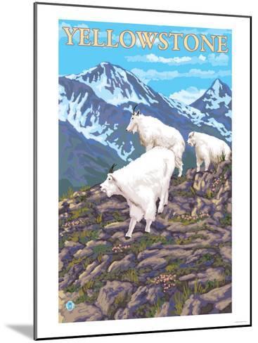 Mountain Goats Scene, Yellowstone National Park-Lantern Press-Mounted Art Print