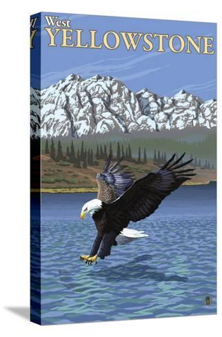 Bald Eagle Diving, West Yellowstone, Montana-Lantern Press-Stretched Canvas Print